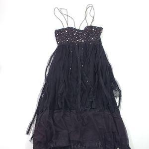 Free People Beaded Lace Open Back Black Maxi Dress